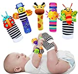 Foot Finders & Wrist Rattles for Infants Developmental Texture Toys for Babies & Infant Toy Socks & Baby Wrist Rattle - Newborn Toys for Baby Girls Boys - Baby Boy Girl Toys 0-3 3-6 6-9 Months