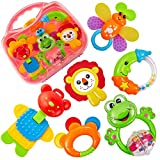 HERSITY Baby Rattle and Teether Set Newborn Babies Teething Toys Sensory Activity Toys First Gift for 3-6 Months Plus Boys Girls, with Carry Case